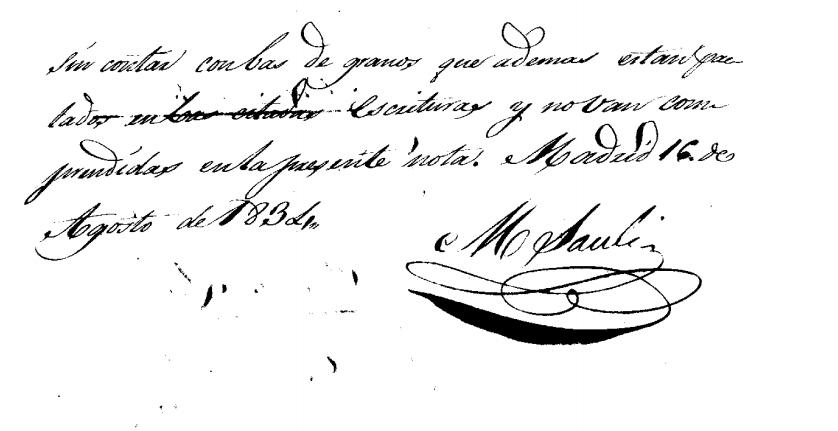 Documento firmado por el marqués de sauli